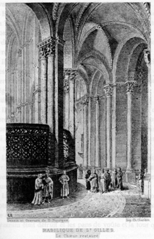 Abb.: Rekonstruktion des Chores der Abteikirche Saint-Gilles von G. Bourges.<br />Aus: P.-E. d'Everlange, Histoire de Saint Gilles, Avignon 1885 (10. Auflage) (c)