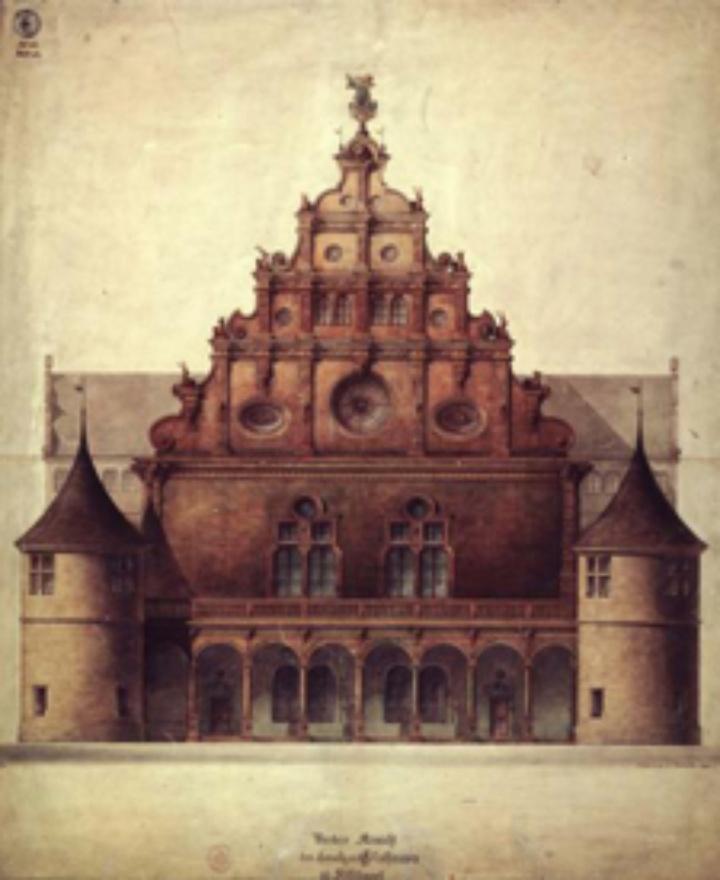 Abb.: Neues Lusthaus Stuttgart, gez. v. Carl Friedrich Beisbarth,<br />nach Originalzeichnung, verwahrt in der Universitätsbibliothek Stuttgart (c)